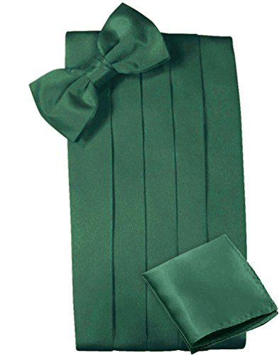 Mens Satin Cummerbund Bowtie Hanky set, 4 Pleat, Large Variety of Solid Colors Available, by Platinum Hanger (Green) ()