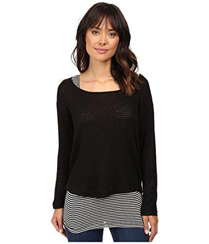Stripe Double Layer Tops (Splendid Women's Bardane Drapey Lux Double Layer Top Black/Black White Stripes Sweater LG (Women's)