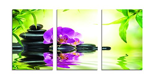 Youk-art Zen Water Flower Floral Canvas Wall Art Pure and Relaxed Moon Orchidee Pictures Print On Canvas With Green Black And Purple Paintings For Wall Decorations And Living Room Bedroom