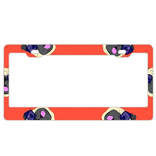 YEX Abstract Sunglasses Pug License Plate Frame Car Tag Frame Auto License Plate Holder 12
