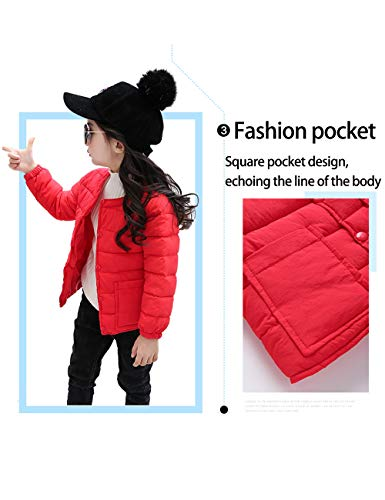 Slim Girls Cotton Coats Neck Warm Outwear Baby for Round fit Pink Sleeve Lightweight BESBOMIG Child Long Boys Jacket Casual qaHFFz