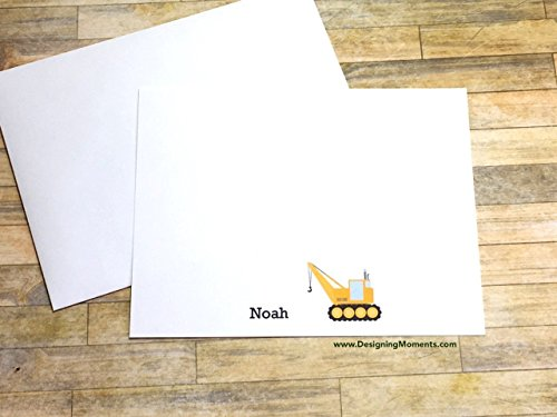 (Boys Personalized Stationery Flat Card Set - Crane Construction Flat Cards - Construction Cards - Thank You Cards - Construction Crane Cards)