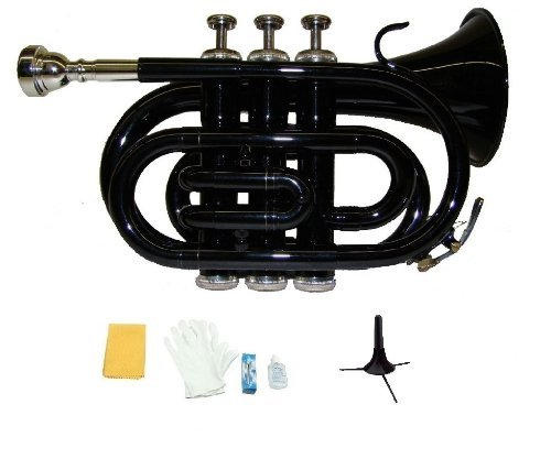 Merano B Flat Black Pocket Trumpet with Case+Mouth Piece;Valve oil;A Pair Of Gloves;Soft Cleaning Cloth+Stand