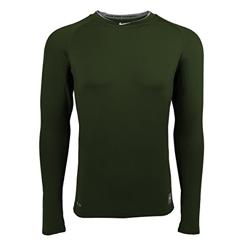 NIKE Men's Pro Combat Core Fitted LS Base Layer Green (2XL)