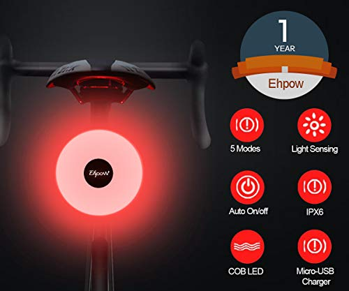 Ehpow USB Rechargeable Bike Tail Light, Super Bright IPX4 Waterproof Led Light Bicycle Accessories, High Intensity Front Back Rear Safety Smart Bike Lights Easy to Install for Road Bikes Skateboard