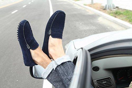 Scarpe Da Uomo In Pelle Scamosciata Sunrolan Slip On Penny Mocassini Driving Blue Mocassini Scarpe