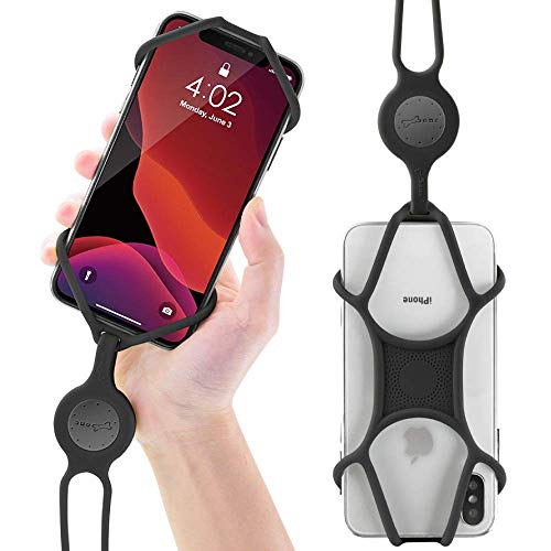 Universal Cell Phone Lanyard Holder, Silicone Neck Strap Smartphone Case for iPhone 11 Pro Max XS XR X 8 7 6S Plus Samsung Galaxy S10 S9 S8 Note 10 9 Pixel 3 XL, Phone Tie Series (Black)