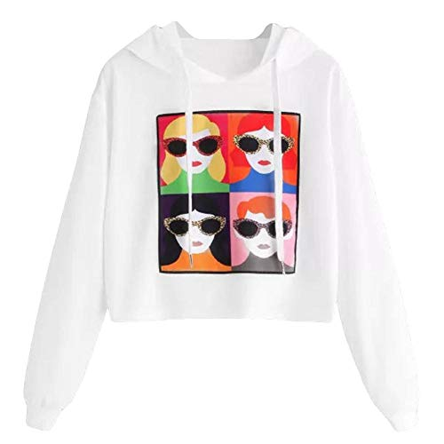 Price comparison product image Clearance Sale! Toimoth Fashion Womens Long Sleeve Sweatshirt Printed Hoodie Causal Tops Blouse(White,L)