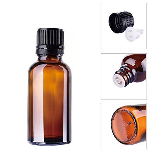Vacío Líquido botellas de vidrio para aceites esenciales - 10 unidades 15/30 ml Refillable + libre 1 Nylon bolsa de maquillaje cosméticos bolsa (al azar), ...