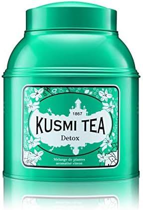 Kusmi Tea - Detox - Natural Green Tea with Lemongrass, Scent of Lemon and Blend of Yerba Mate - 17.6oz of All Natural Premium Loose Leaf Green Detox Tea in Eco-Friendly Metal Tin (200 Servings)