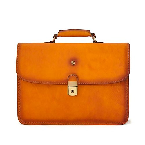 Pratesi Mens [Personalized Initials Embossing] Italian Leather Cerreto Guidi Double Compartment Flapover Briefcase In Cognac by Pratesi