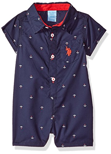U.S. Polo Assn. Baby Boys Romper, Americana Anchors Multi Plaid, 18M