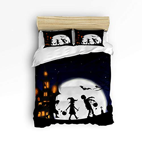 YEHO Art Gallery Halloween Children Pattern Trick or Treat 3 Piece Duvet Cover Set Beddding Set,Twin Size Luxury Soft Bed Set Bedroom Home Decor,Include 1 Comforter Cover with 2 Pillow Cases]()