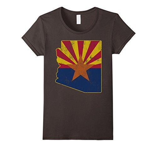 Womens Cool Vintage Distressed Arizona State Outline Flag Shirt Xl Asphalt