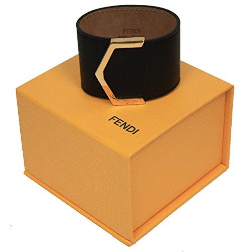 Fendi-Womens-Black-Leather-Bangle-Bracelet-with-Gold-Snap-Closure-8AG355