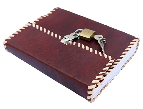 QualityArt Handmade Distressed Leather Journal vintage look real lock and key plain notebook diary 7×5 Christmas gifts