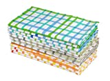Cotton Craft - Water Color Effect Plaid Cotton Dinner Napkins - 12 Pack Multi Color - 100% Ringspun Combed Cotton - Size 20x20 - Easy Care Machine Wash