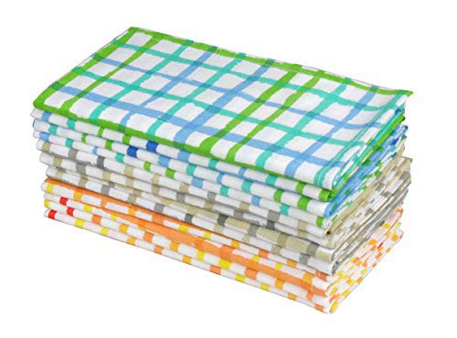 Cotton Craft - Water Color Effect Plaid Cotton Dinner Napkin