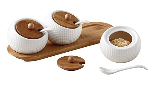 - Alwaysuc Modern Design Porcelain Jar, Ceramic Serving Spoon, Bamboo Tray Perfect Canister for Sugar Bowl Serving Tea, Coffee, Spice Best Pottery Cruet Pot for Your Home, Kitchen, Counter.