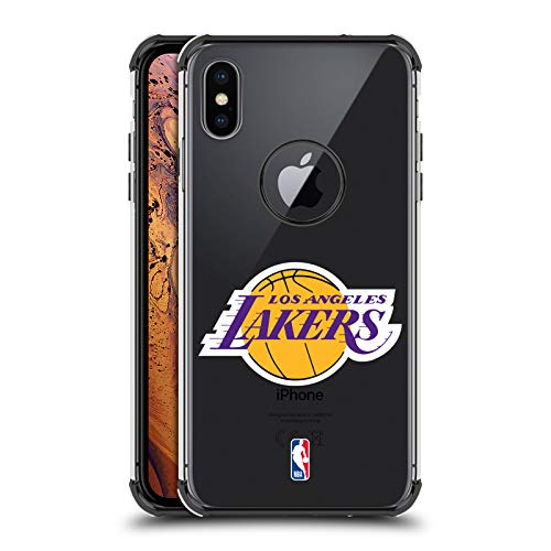 Official NBA Plain Los Angeles Lakers 2 Black Shockproof Fender Case for iPhone Xs Max
