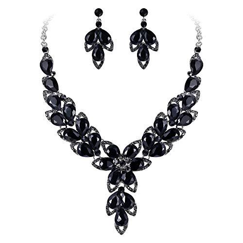 (BriLove Women's Wedding Bridal Crystal Multi Teardrop-Shape Flower Hollow Enamel Statement Necklace Dangle Earrings Set Black Silver-Tone)