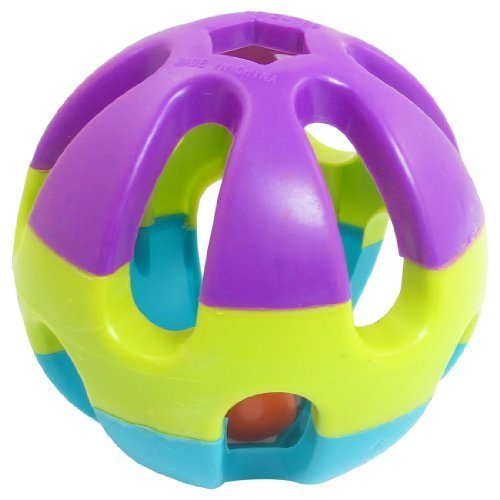 Water & Wood Multi Color Plastic Hollow Ball Jingle Bell Pet Dog Play Toy