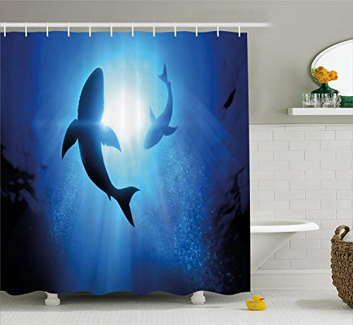 Ambesonne Shark Shower Curtain, Underwater World with Fish Silhouettes Circling in The Sea Surreal Ocean Life Print, Fabric Bathroom Decor Set with Hooks, 70 inches, Royal Blue