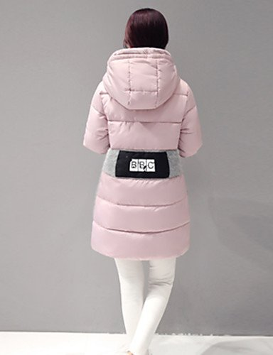 L Green Pink Letter Gray Women's Black Sleeve Padded Long Hooded YRF PINK CoatStreet chic qXE5Owq