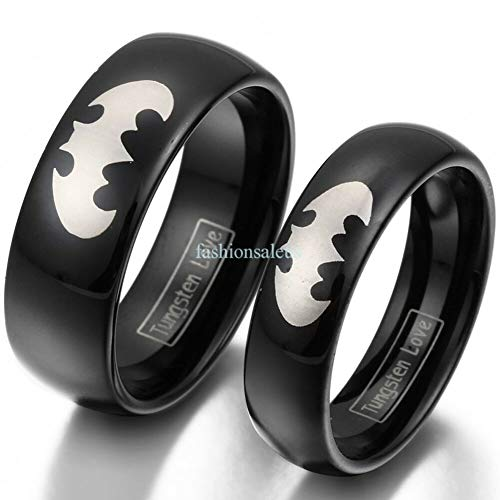 MOTJEW 8mm/6mm Tungsten Carbide Laser Etched Batman Men's Women's Couples Band Ring New
