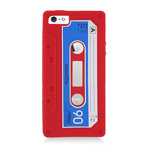 Eagle Cell Cassette Tape Skin Cover for iPhone 5/5S - Retail Packaging - Red - Cassette Silicone Skin