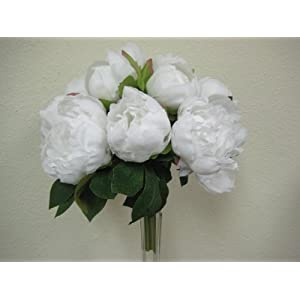 WHITE Hand Tied Peonies Bridal Wedding Bouquet Artificial Silk Flower 740-WT 114