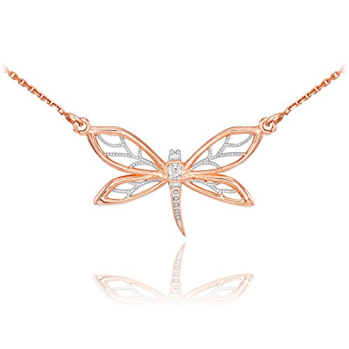 Animal Kingdom 14k Rose Gold 1-Stone Diamond Filigree Dragonfly Pendant Necklace, 16