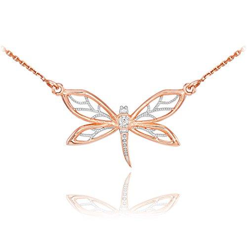 - 14k Rose Gold 1-Stone Diamond Filigree Dragonfly Pendant Necklace, 16