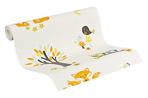 Esprit Kids Vliestapete Forest, Mustertapete, weiß, beige, hellblau, braun, magenta, 941151