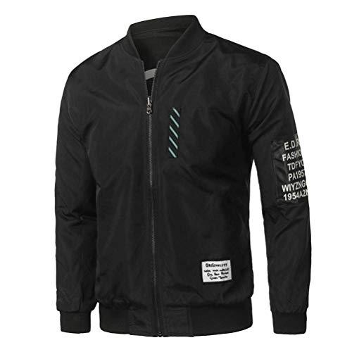 Jacket Jacket Colletto Zippered Pilot Moda Inverno Uomo Bomber Bomber Bomber Coat Collare Giubbotto Lunga Betrothales Giacca Autunno Schwarz Parka Outwear Cappotto Casual Moda Manica w0xvfTwq1