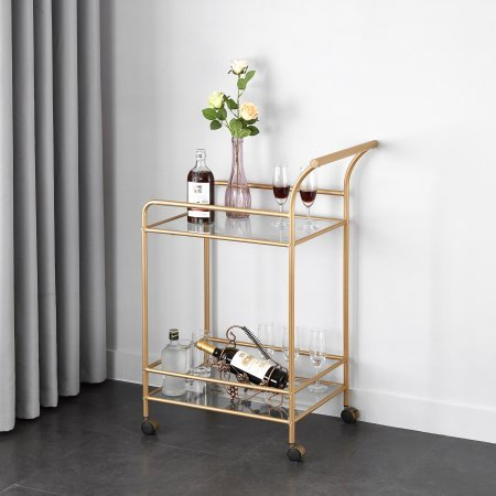 Mainstays Tempered Glass and Metal Bar Cart with Wheel Caster