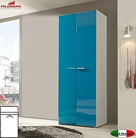 Unbekannt Armario ropero Armario 55036 de 2 Puertas Blanco/Turquesa Brillante 81 cm: Amazon.es: Hogar