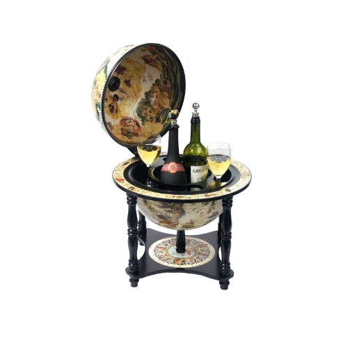 Merske Turin Italian Style Tabletop Bar Globe with 4 Legs, 13-Inch Diameter, -