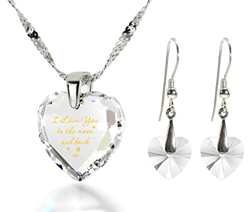 Heart Jewelry Set CZ I Love You to the Moon and Back Necklace and Crystal Earrings, 18 925 Silver Chain