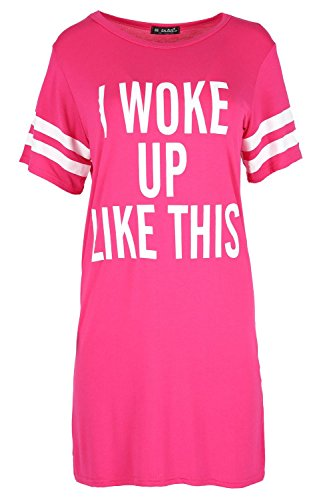 Oops Outlet Women's T Shirt Cap Sleeve I Woke Up Like This Baggy Shift Dress Plus Size (US 20/22) - Oops Outlet