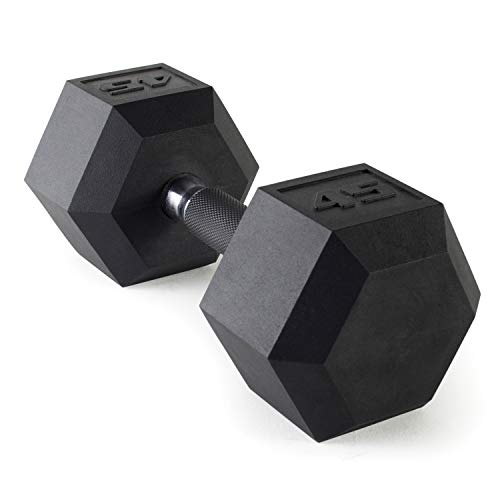 Cap Barbell Fitness Urethane Covered Dumbbell Black,45-Pound