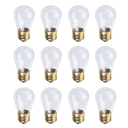 Incandescent S14 Edison Light Bulb, String Light Replacement, 50 Lumens, 2700k Soft White, E26 Medium Base, 130V, Clear (12 Pack)