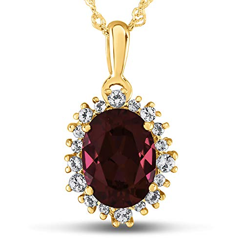 Finejewelers 10k Yellow Gold Oval Created Ruby with White Topaz accent stones Halo Pendant Necklace