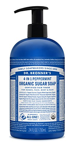 (Dr. Bronner's Organic Peppermint Sugar Soap. 4-in-1 Organic Pump Soap for Home and Body (24 oz))