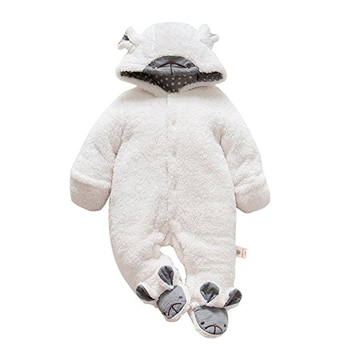 [Birdfly Toddler Baby Cute Koala Costume Thicken Warm Fleece Footed Romper Hooded Jumpsuit Creepers Infant Winter Outfit (18M, White)] (Angel Pajama Infant & Toddler Costumes)