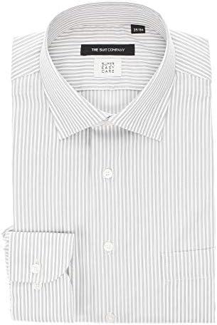(ザ・スーツカンパニー) SUPER EASY CARE・再生繊維/ワイドカラードレスシャツ ストライプ〔EC・BASIC〕 グレー×ホワイト