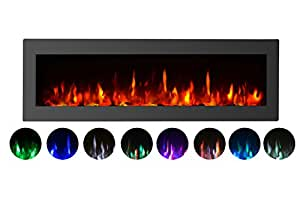 "GMHome 40""Electric Fireplace Wall Mounted Heater Freestanding Fireplace Crystal Stone Flame Effect 9 Changeable Flame Color Fireplace, w/Remote, 1500/750W, Black"