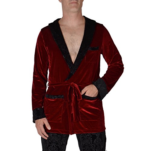 Revolver Fashion Hugh HEFNER Velvet Robe, Red and Black, -