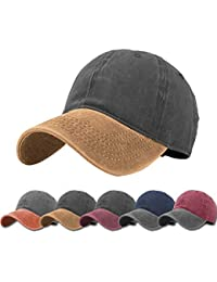 504c1fb0 Unisex Vintage Washed Distressed Baseball-Cap Twill Adjustable Dad-Hat
