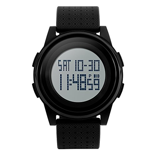 Chronograph Alarm Black Watch (Men's Digital Sport Watch LED Backlight 5ATM Waterproof Simple Thin Case Military Chronograph Wrist Watch)
